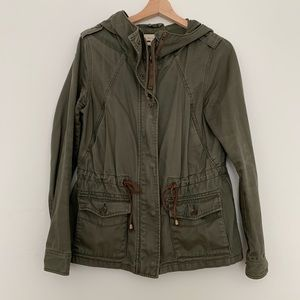 H&M hooded green utility jacket